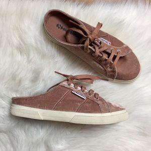 Superga Blush Velvet Mule Sneakers